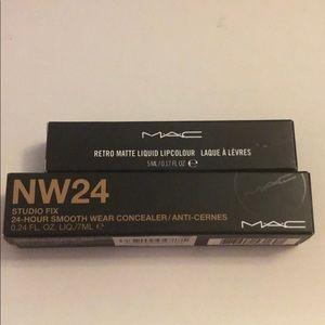 MAC Concealer and Retro Matte Liquid Lipcolour
